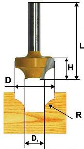 Фреза паз фасонная ф25,4х14мм R6,35мм хв 8мм