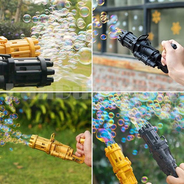 Пистолет с мыльными пузырями на батарейках пластмассовый 20 *9 *7 см в ассортименте - фото 9