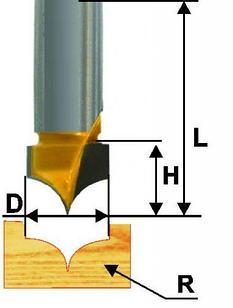 Фреза пазовая фасонная ф9,5х8мм R4,8мм хв 8мм