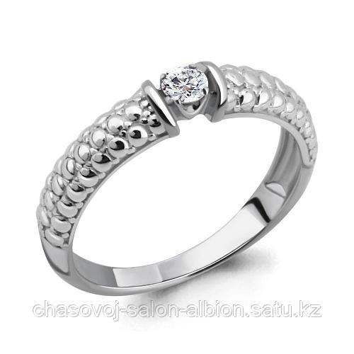 AQUAMARINE Кольцо помолвочное 68293А серебро с фианитом 18р.