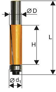 Фреза кромочная прямая ф19х50,8мм хв 12мм