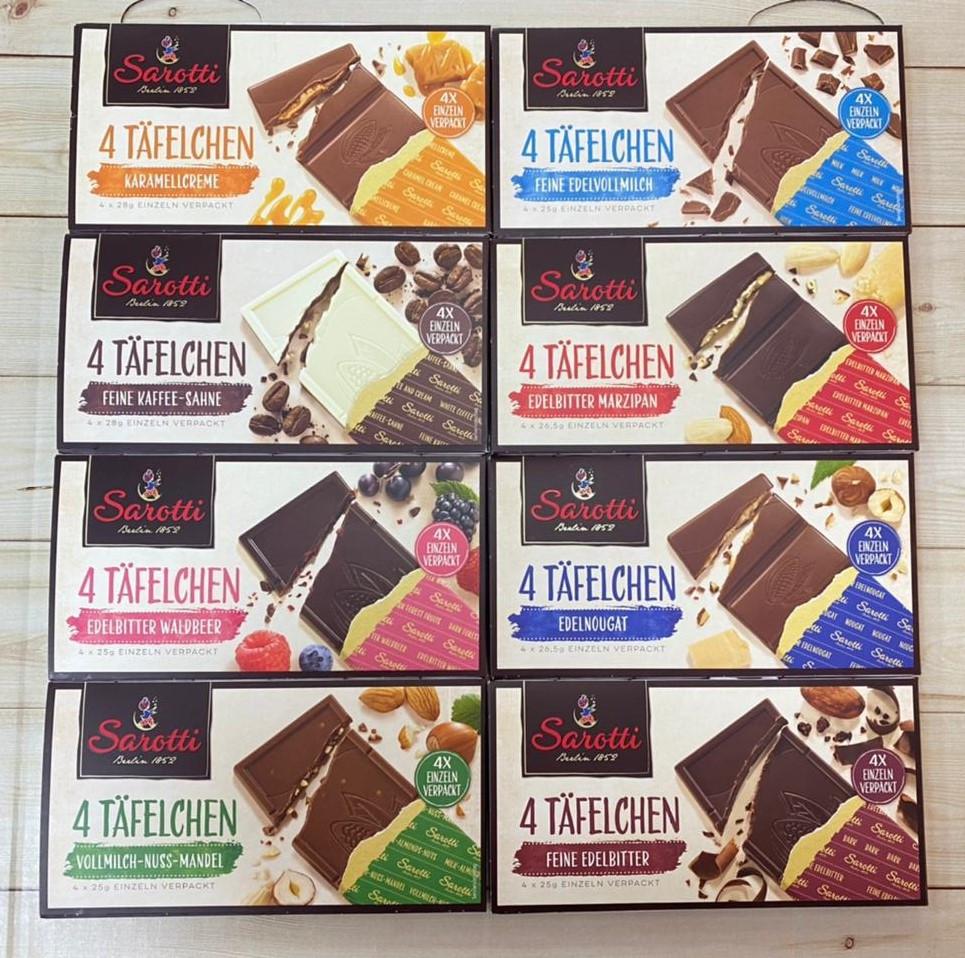 Плитка Шоколад Sarotti 4шт Tafelchen Karamellcreme 112гр. Разные вкусы (клубника, ягода, лайм, кофе)