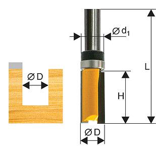 Фреза кромочная прямая ф6,35х19мм хв 8мм