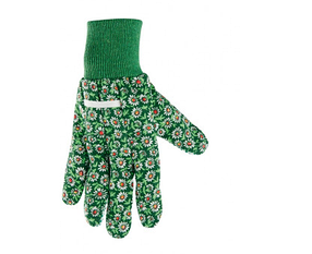 Перчатки садовые х/б ткань с ПВХ точкой, манжет, S