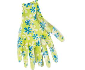 Перчатки садовые из полиэстера с нитриловым обливом, зеленые, M