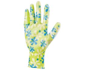 Перчатки садовые из полиэстера с нитриловым обливом, зеленые, S