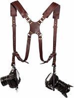 Кожаный Ремень для 2-х фотоаппаратов и аксессуаров коричневый