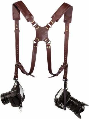 Кожаный Ремень для 2-х фотоаппаратов и аксессуаров коричневый, фото 2