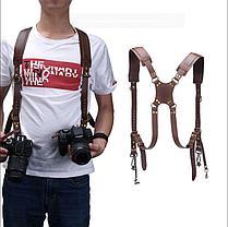 Кожаный Ремень для 2-х фотоаппаратов и аксессуаров коричневый, фото 3