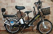 Электровелосипед, мотор 48v 240w, аккум. Li-ion 48v 10A/H. Дальность 40 км. Вес 23 кг. Колеса 20''. Сиденья 3