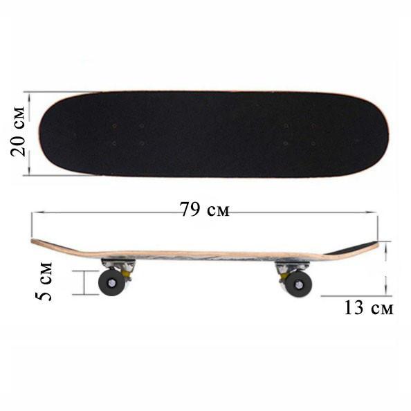 Скейтборды подростковые с узором в нижней части деки 79х20 см BOBO с геометрической фигурой - фото 2
