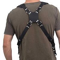 Кожаный Ремень для 2-х фотоаппаратов и аксессуаров чёрный