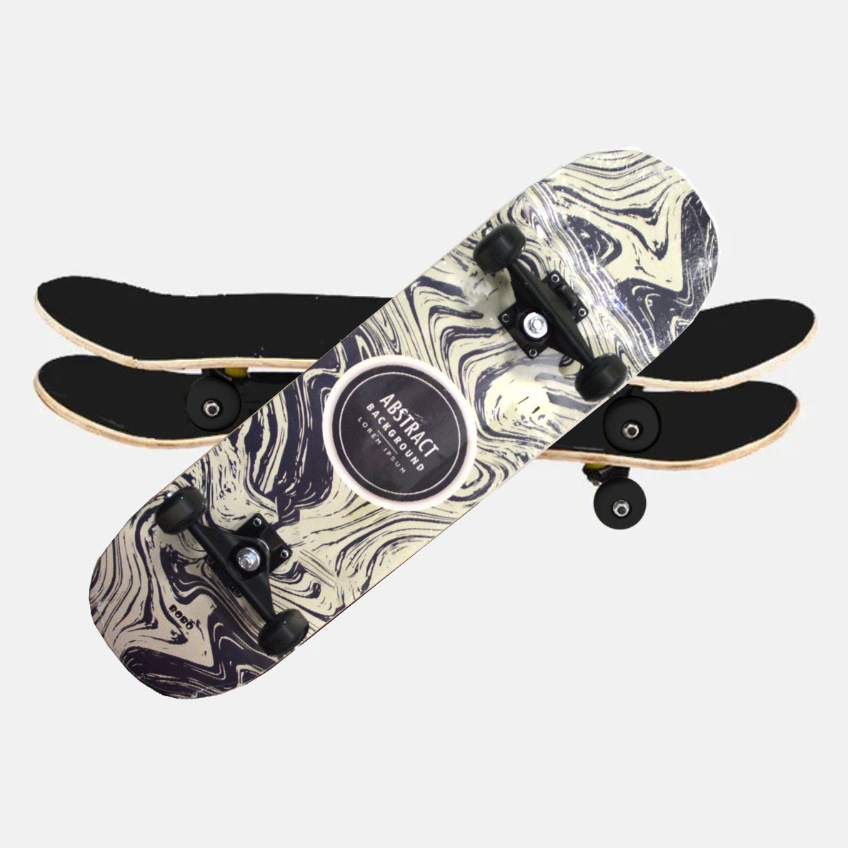 Скейтборды подростковые с узором в нижней части деки 79х20 см BOBO с абстрактным рисунком - фото 10