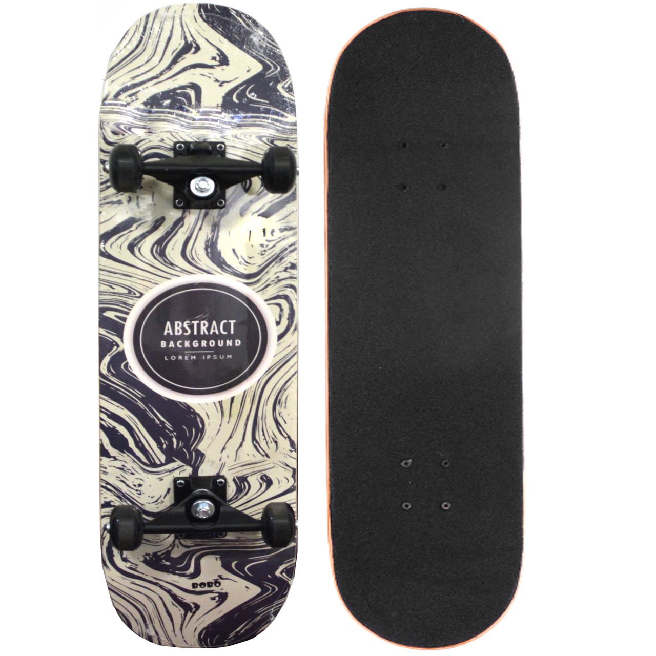 Скейтборды подростковые с узором в нижней части деки 79х20 см BOBO с абстрактным рисунком - фото 1
