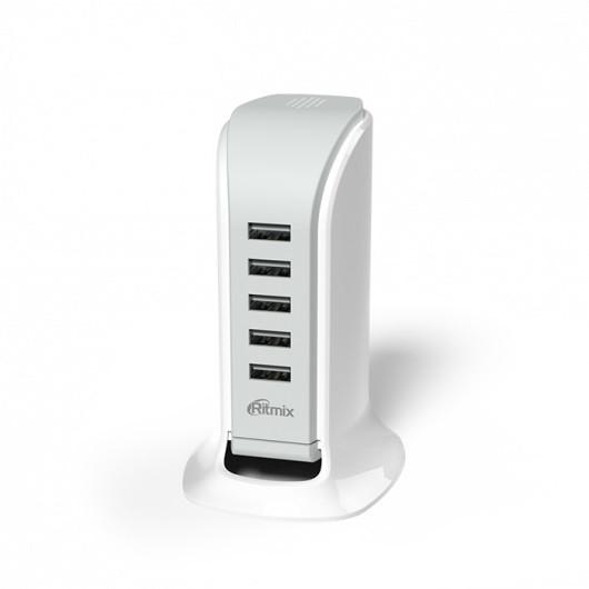 Зарядное устройство сетевое Ritmix RM-5055AC белый 5 USB