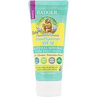 Badger Company, Детский солнцезащитный крем, SPF 30 PA+++, с ромашкой и календулой, 87 мл