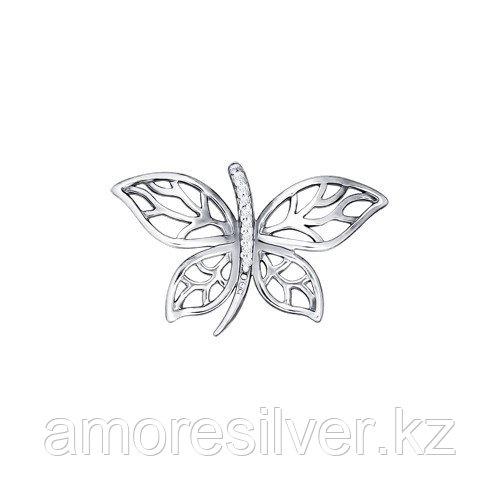 Подвеска SOKOLOV серебро с родием, фианит , бабочка 94030695