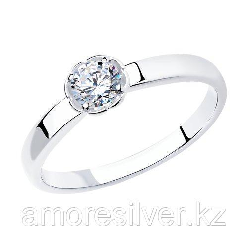 Кольцо SOKOLOV серебро с родием, фианит  94011749 размеры - 15,5 16 16,5 17 17,5 18,5 19