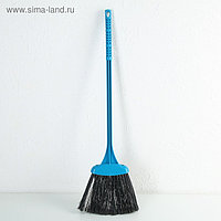 Метла с черенком жёсткая «Удобная», цвета МИКС