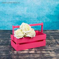 """Кашпо деревянное 24.5×13.5×9 см """"Двушка Лайт"""", двухреечное, розовый Дарим Красиво"""