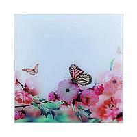 "Картина на стекле ""Бабочки на цветке"" 30*30см"