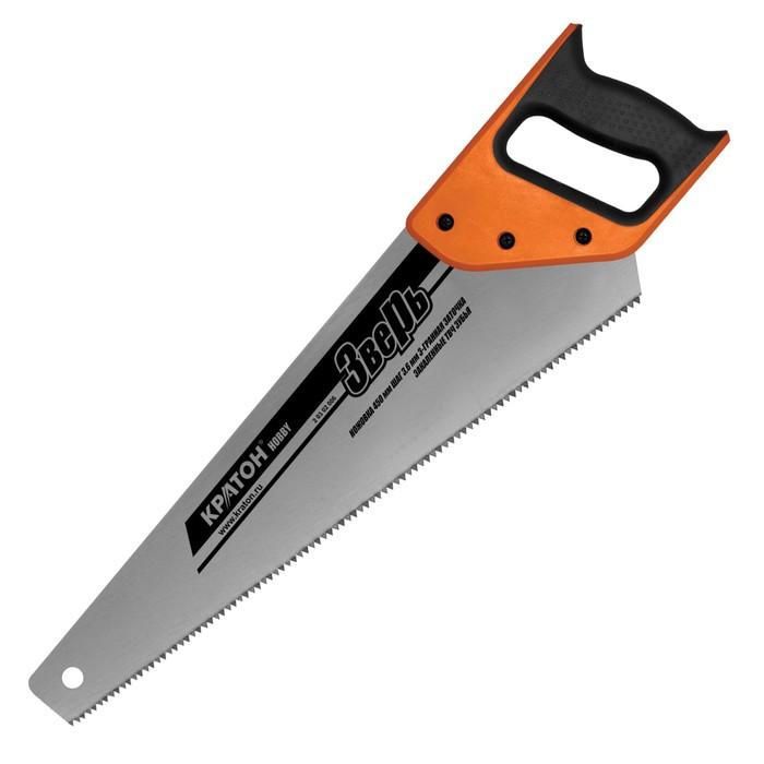 """Ножовка """"Кратон"""" HOBBY 2 03 02 006, 450 мм, шаг 3.6 мм, 3-гранные закаленные ТВЧ зубья"""