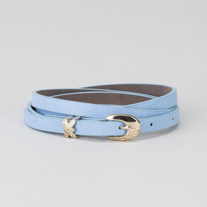 Ремень женский, пряжка и хомут золото, ширина - 0,8 см, цвет голубой