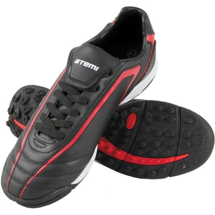 Футбольные бутсы, цвет чёрно-красный, синтетическая кожа, размер 31