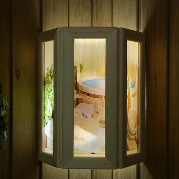 """Абажур деревянный """"Банные аксессуары"""" со вставками из стекла с УФ печатью, 33х29х12см"""