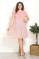 Женское летнее розовое нарядное большого размера платье Solomeya Lux 827 розовый 48р.
