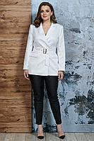 Женский осенний белый деловой нарядный жакет Белтрикотаж 4346 белый 46р.
