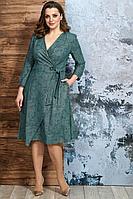 Женское осеннее зеленое нарядное большого размера платье Белтрикотаж 6880 изумруд 50р.