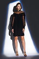 Женское осеннее черное нарядное платье BURVIN 7742-81 40р.