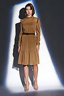 Женское осеннее коричневое нарядное платье BURVIN 7838-81 40р.