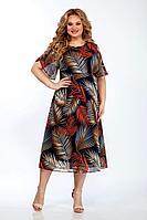 Женское летнее шифоновое большого размера платье Emilia Style 2077/1 охра 58р.