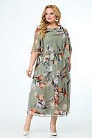 Женское летнее нарядное большого размера платье Anelli 679 зеленый_тон_лилии 52р.