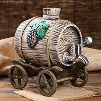 Бочка на деревянной телеге 'Виноград', серебристый кран, 2.7 л