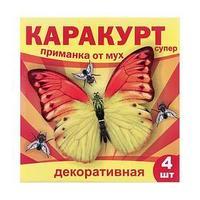 Приманка декоративная от мух 'КАРАКУРТ СУПЕР', пакет, 4 наклейки (бабочка желто-оранжевая)
