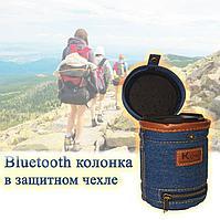 Колонка беспроводная Bluetooth портативная с микрофоном в джинсовом чехле черная 9 *12 см R6
