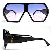 Солнцезащитные очки с фиолетово розовыми стеклами с широкой черной дужкой YSL 3010