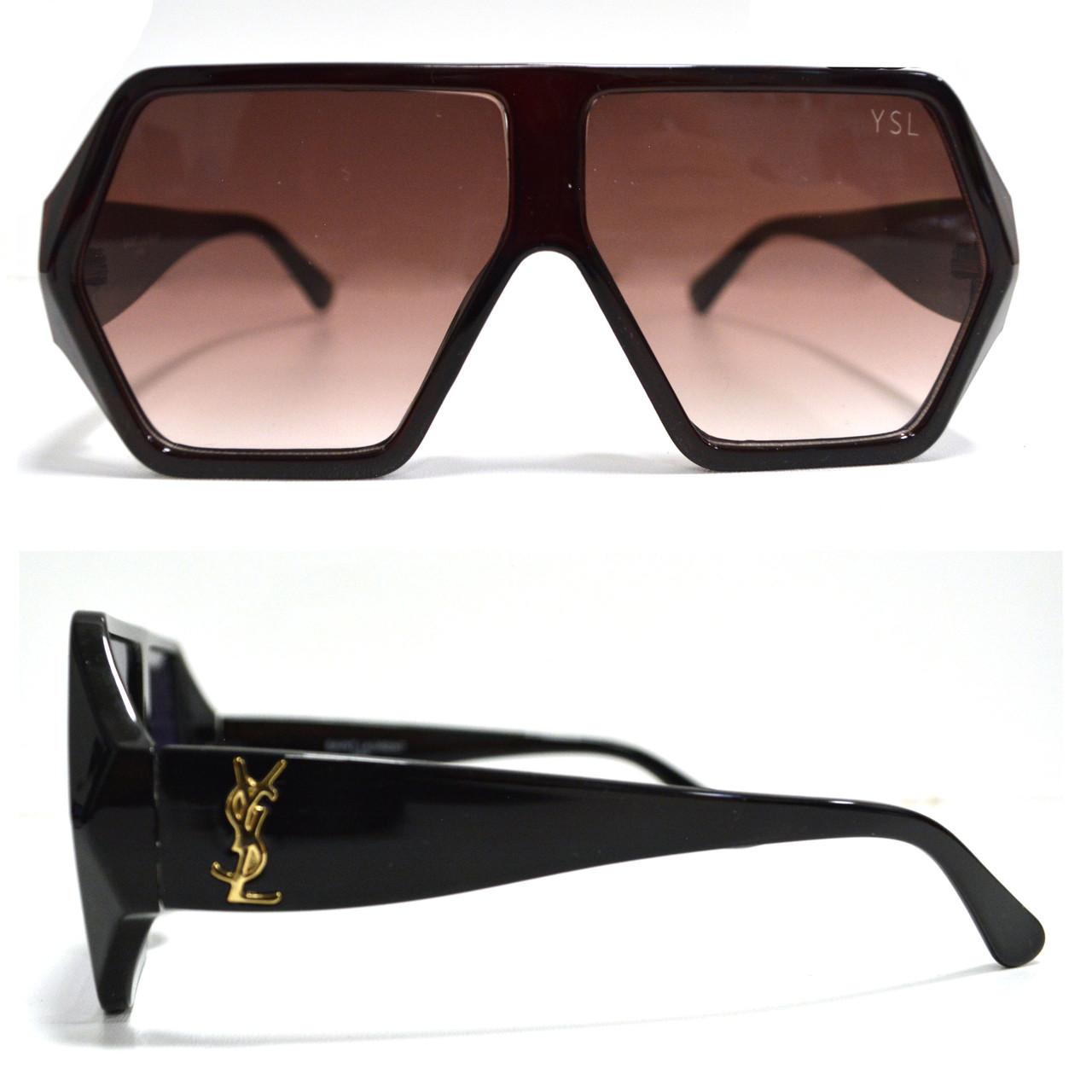 Солнцезащитные очки с коричневыми стеклами с широкой коричневой дужкой YSL 3010 - фото 1