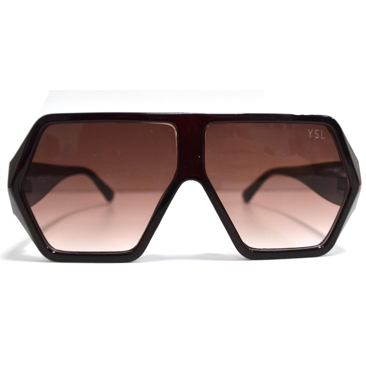 Солнцезащитные очки с коричневыми стеклами с широкой коричневой дужкой YSL 3010 - фото 4