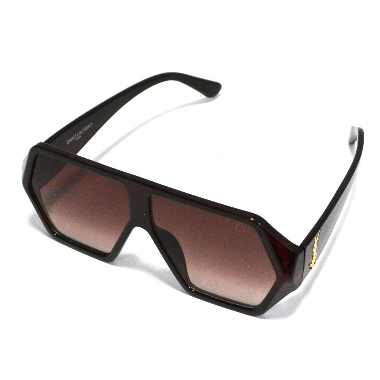 Солнцезащитные очки с коричневыми стеклами с широкой коричневой дужкой YSL 3010 - фото 3