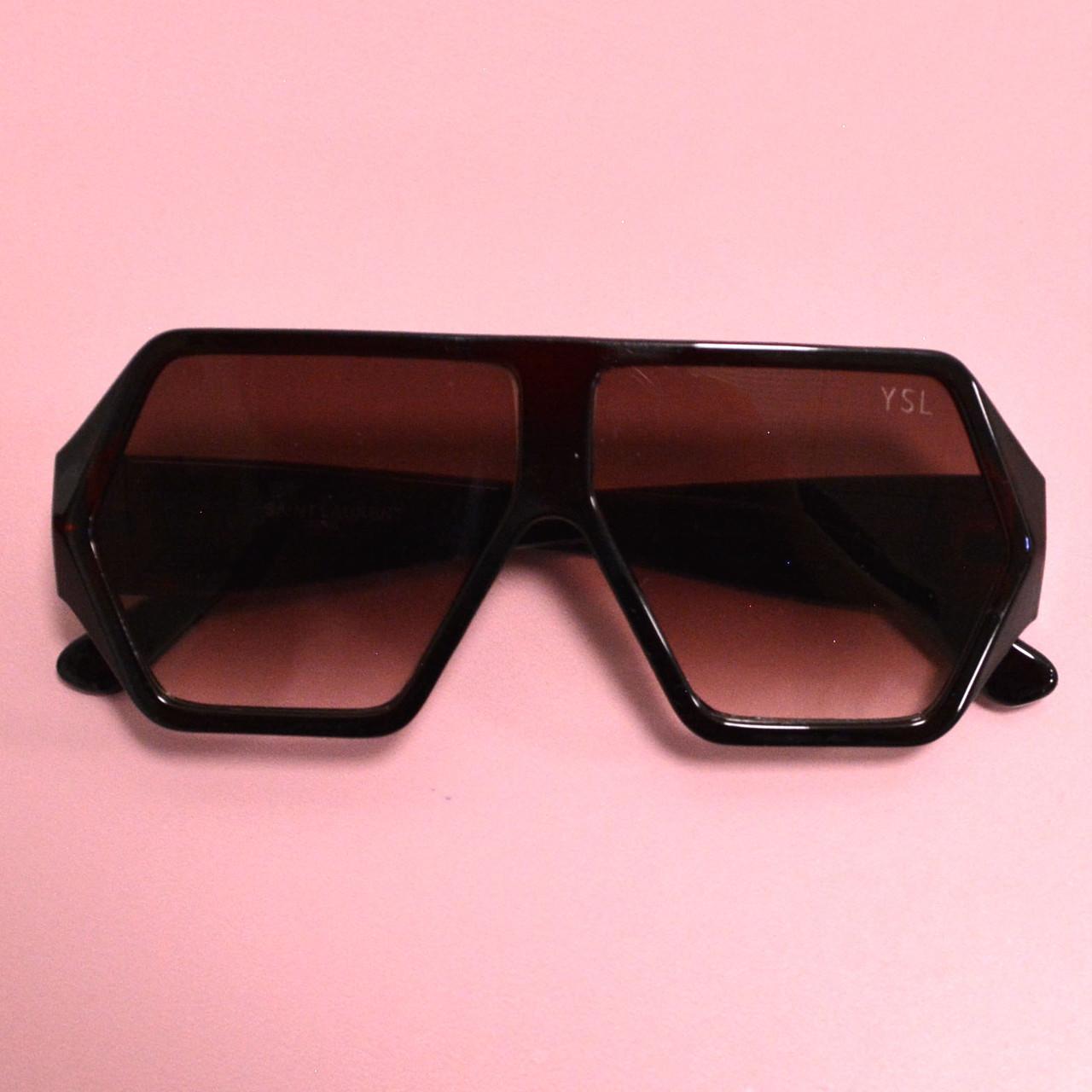 Солнцезащитные очки с коричневыми стеклами с широкой коричневой дужкой YSL 3010 - фото 7
