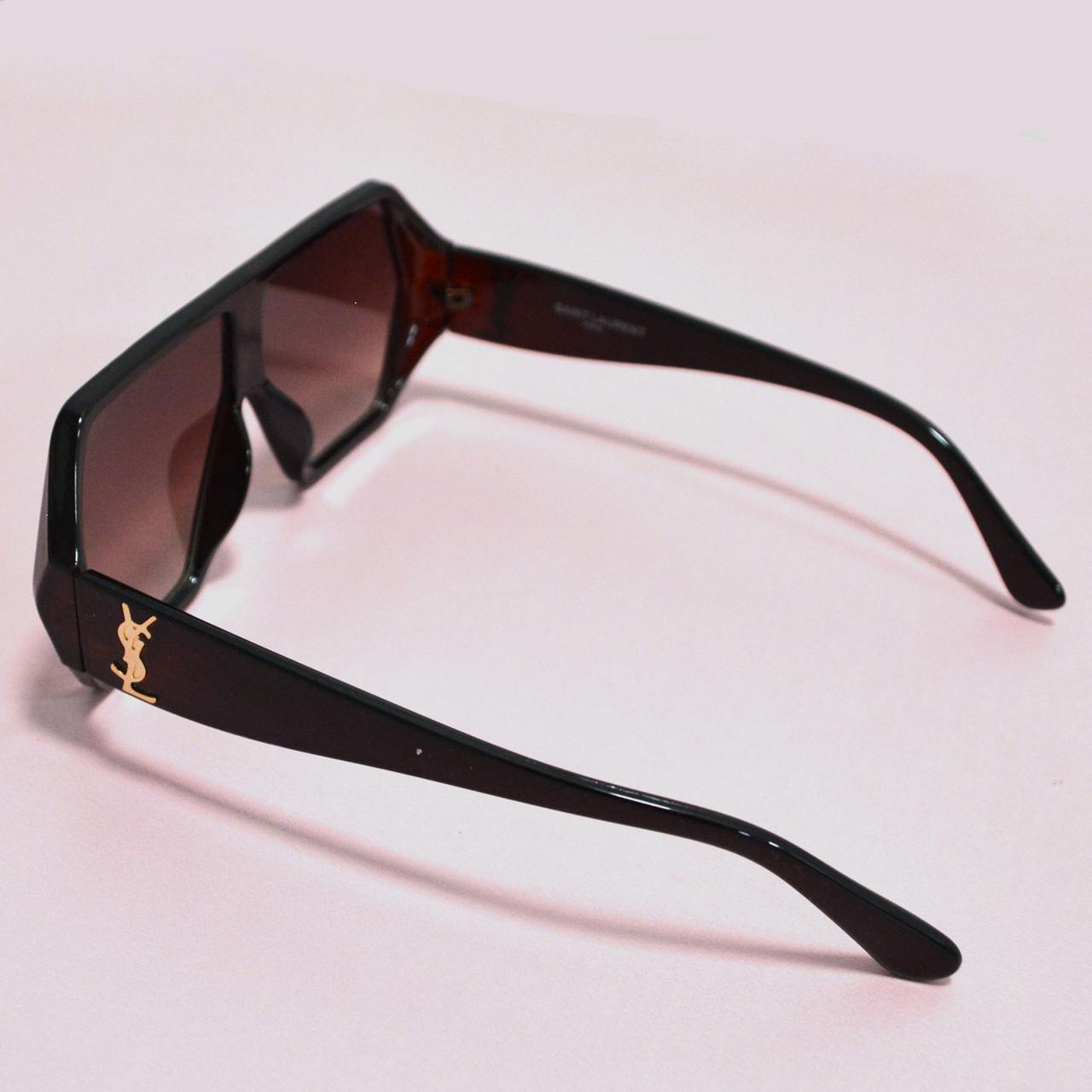 Солнцезащитные очки с коричневыми стеклами с широкой коричневой дужкой YSL 3010 - фото 10