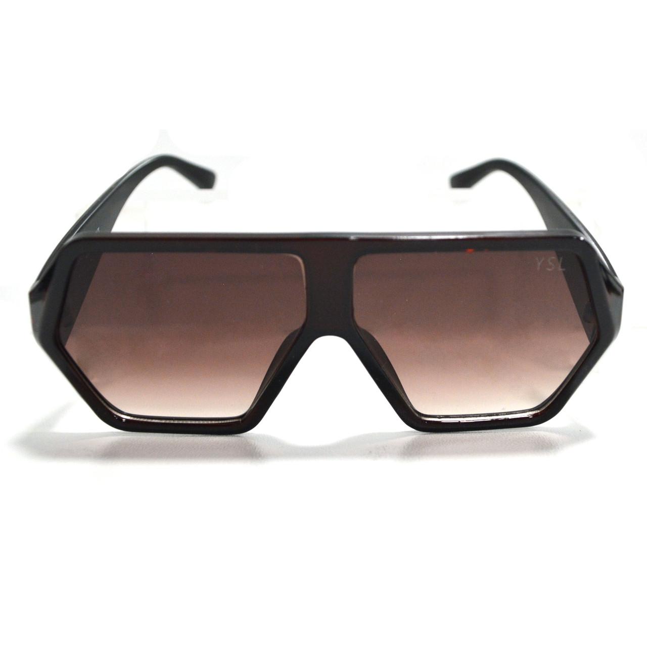 Солнцезащитные очки с коричневыми стеклами с широкой коричневой дужкой YSL 3010 - фото 9