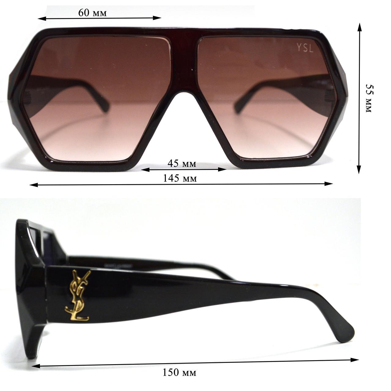 Солнцезащитные очки с коричневыми стеклами с широкой коричневой дужкой YSL 3010 - фото 2