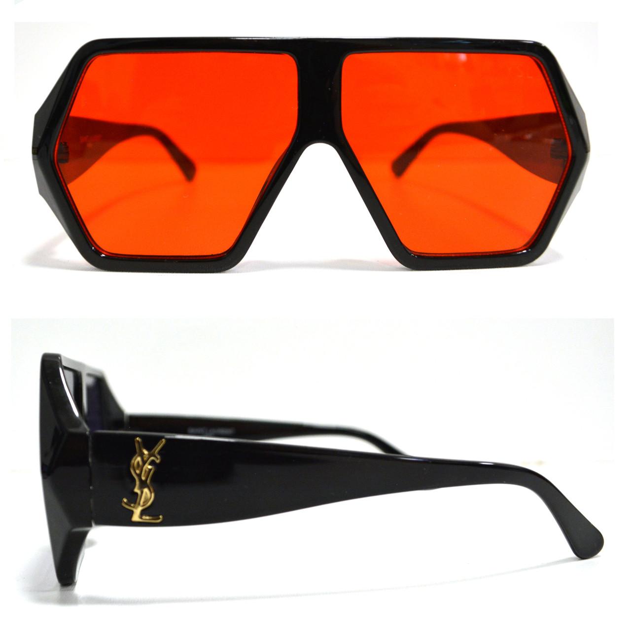 Солнцезащитные очки с красными стеклами с широкой черной дужкой YSL 3010 - фото 1