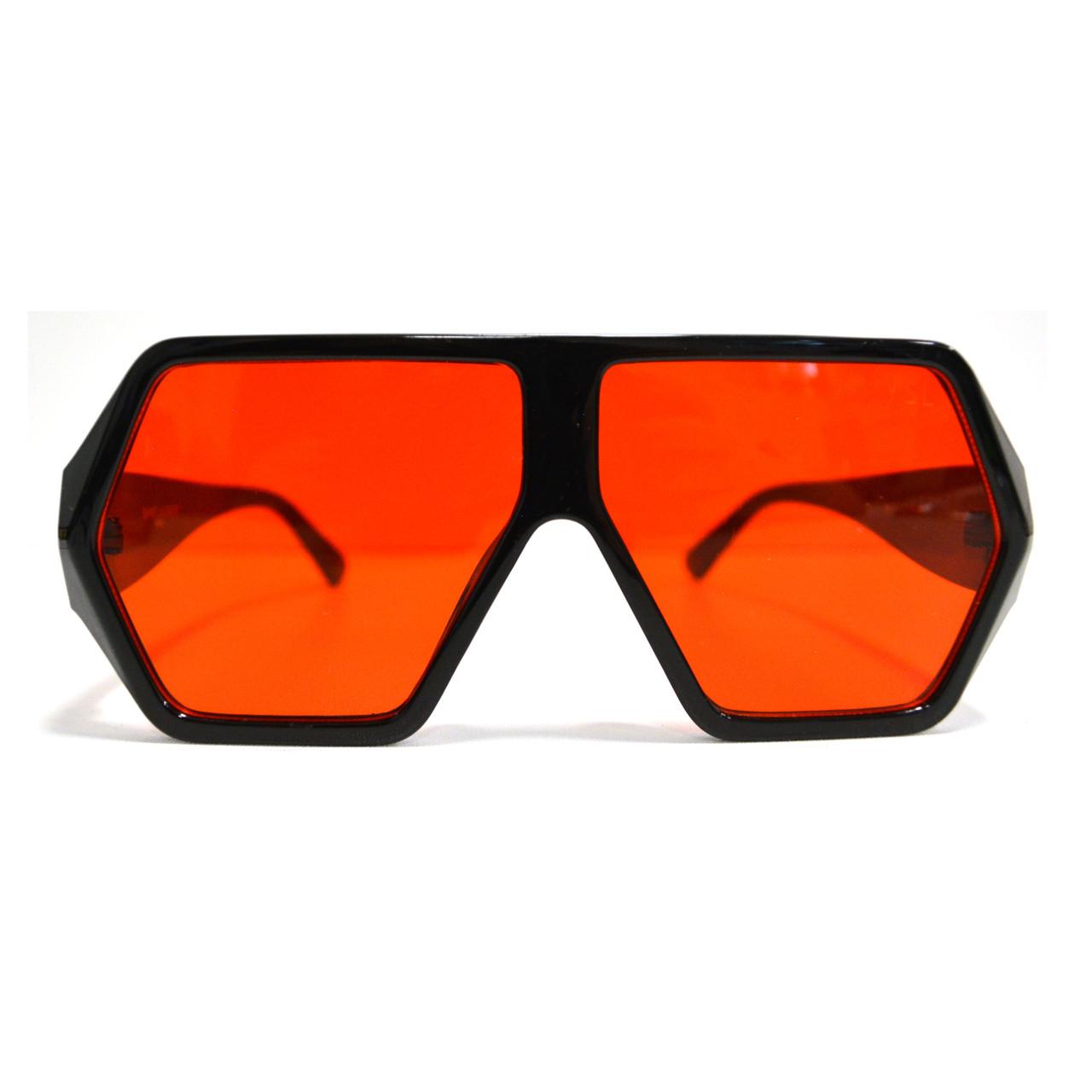 Солнцезащитные очки с красными стеклами с широкой черной дужкой YSL 3010 - фото 3
