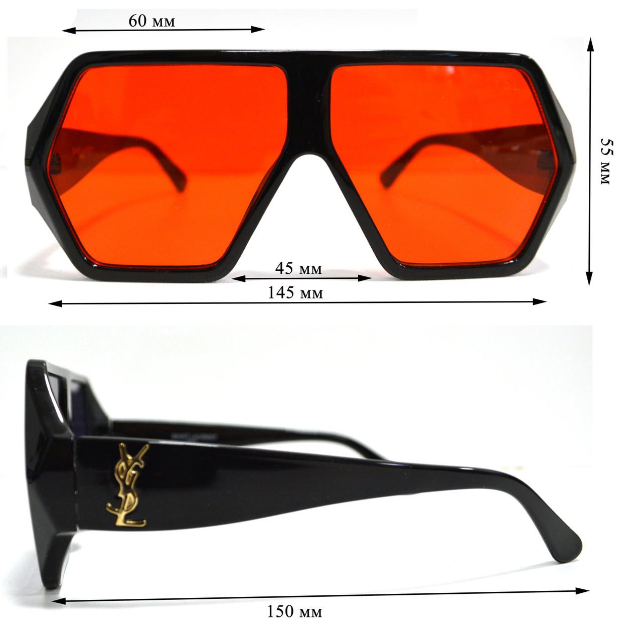Солнцезащитные очки с красными стеклами с широкой черной дужкой YSL 3010 - фото 2